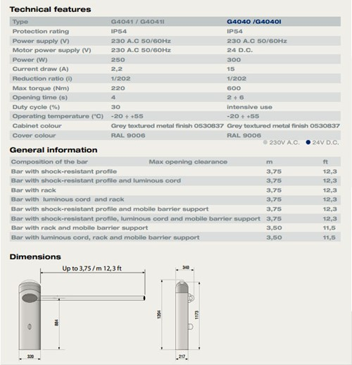 CAME barriers specification